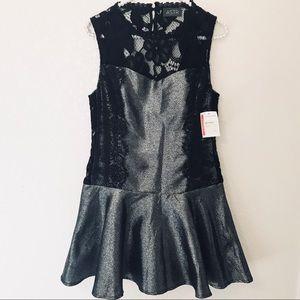 NWT [Astr] Silver Metallic Fit & Flare Mini Dress